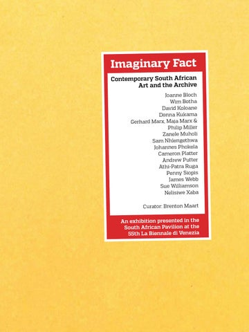 Imaginary Fact: Contemporary South African art and the archive  by