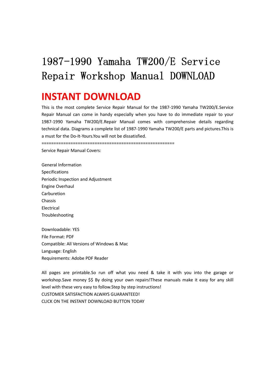 1987-1990 Yamaha Tw200e Service Repair Workshop Manual Download By Li Guo