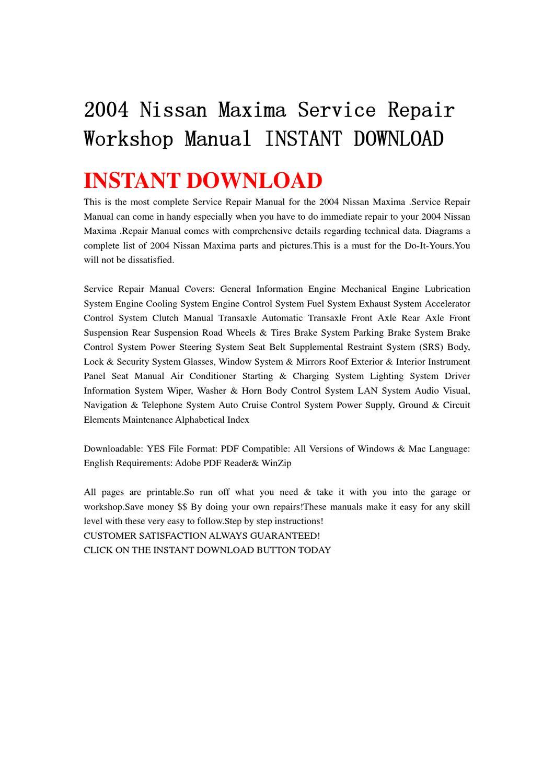 2004 nissan maxima repair manual