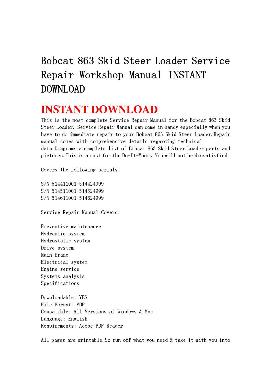 Bobcat 863 Skid Steer Loader Service Repair Workshop