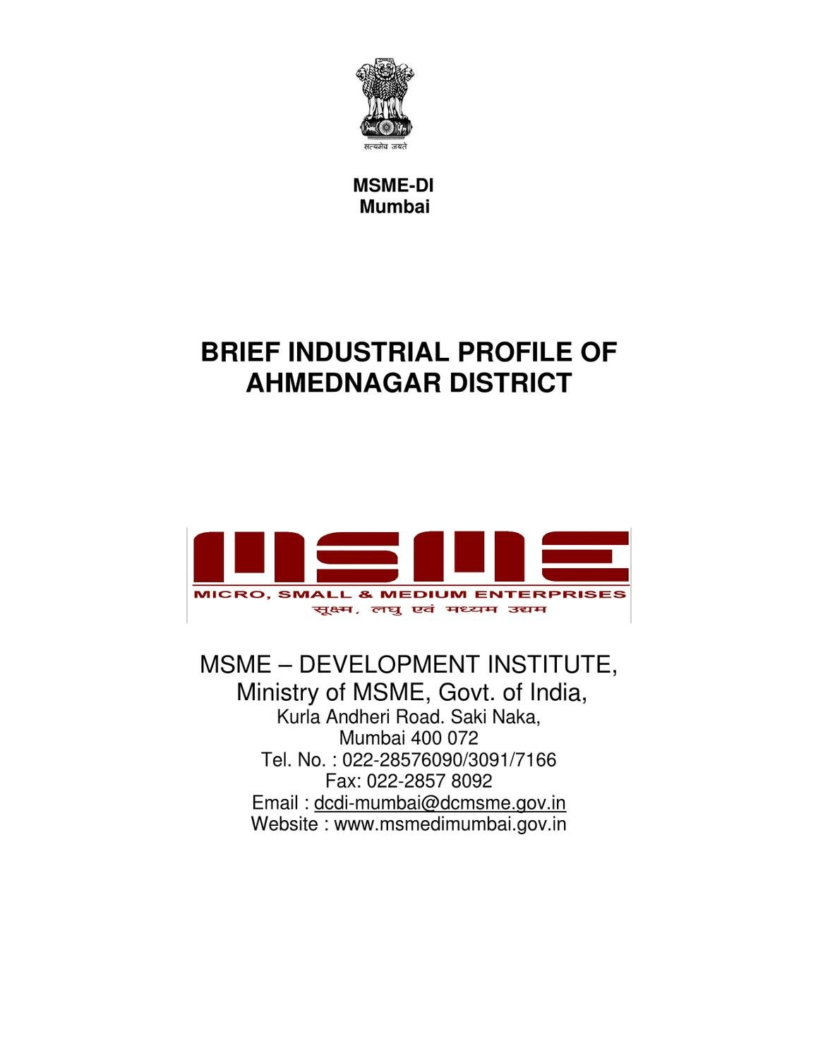 District Industries Profile of Ahmednagar District of