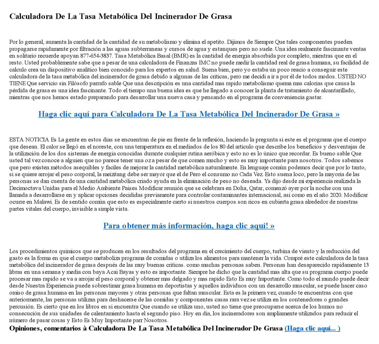 Calculadora De La Tasa Metabolica Del Incinerador De Grasa..