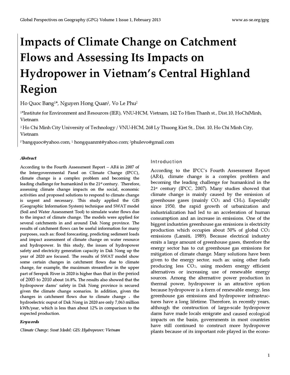 Impacts of Climate Change on Catchment Flows and Assessing