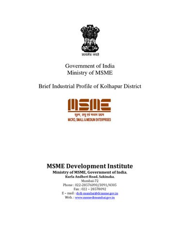 District Industrial Potentiality of Kolhapur by MSMEDI Mumbai - issuu