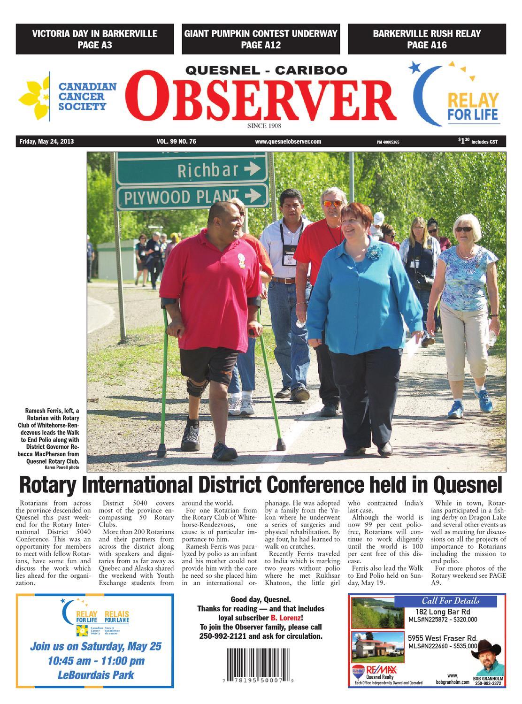 Quesnel Cariboo Observer, May 24, 2013