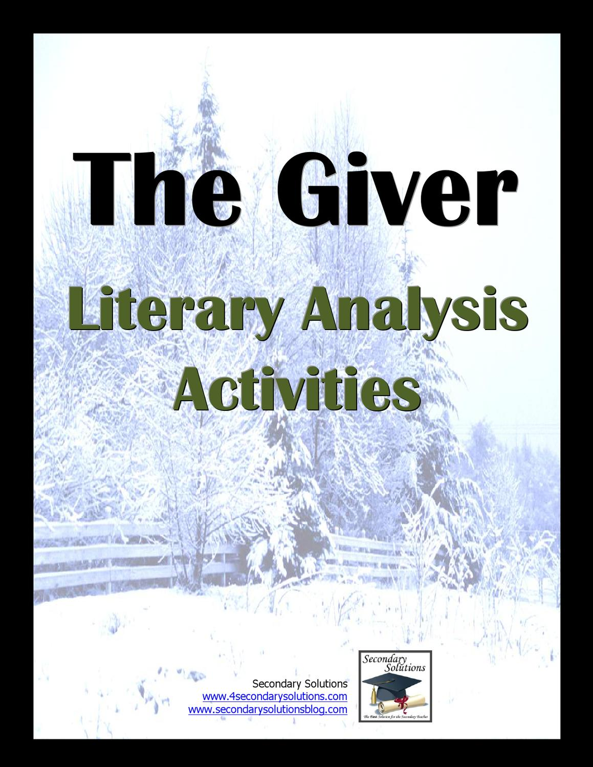 literary activity by becky neeley issuu rh issuu com the giver literature guide 2008 secondary solutions answers Secondary Data