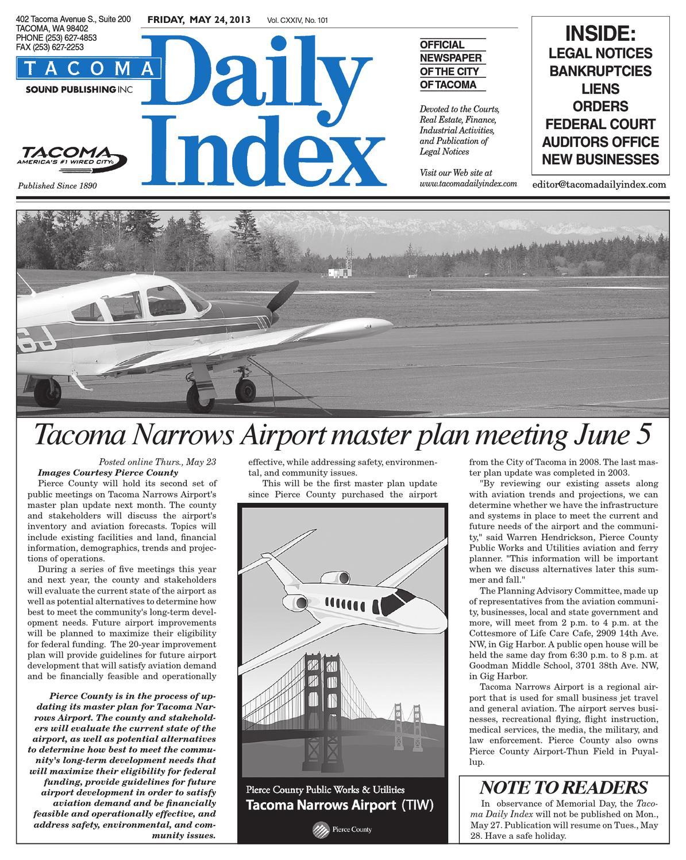 Tacoma Daily Index, May 24, 2013 by Sound Publishing - issuu