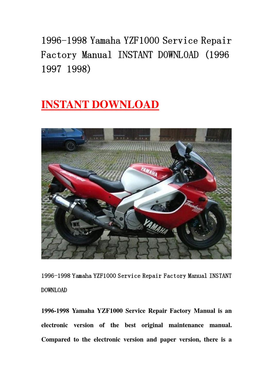 1996 1998 Yamaha Yzf1000 Service Repair Factory Manual border=