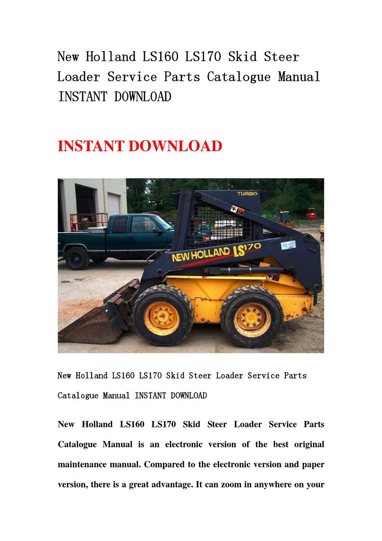 New Holland Ls160 Ls170 Skid Steer Loader Service Parts
