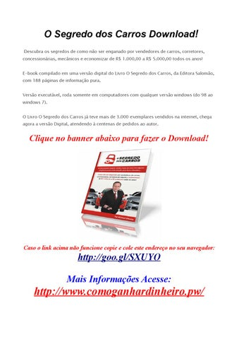 O segredo dos carros pdf by download gratis completo issuu.