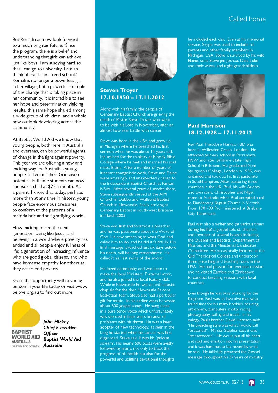 The qb, the voice of Queensland Baptists by Queensland Baptists - issuu