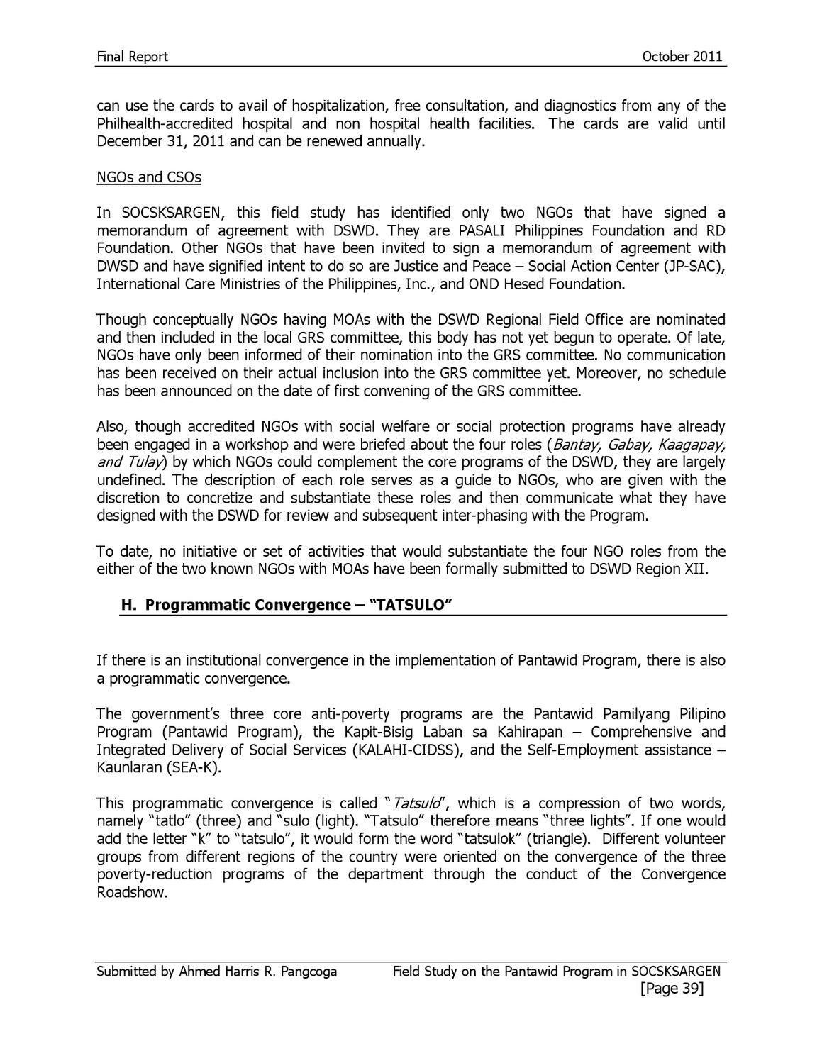 pantawid pamilyang pilipino program research paper
