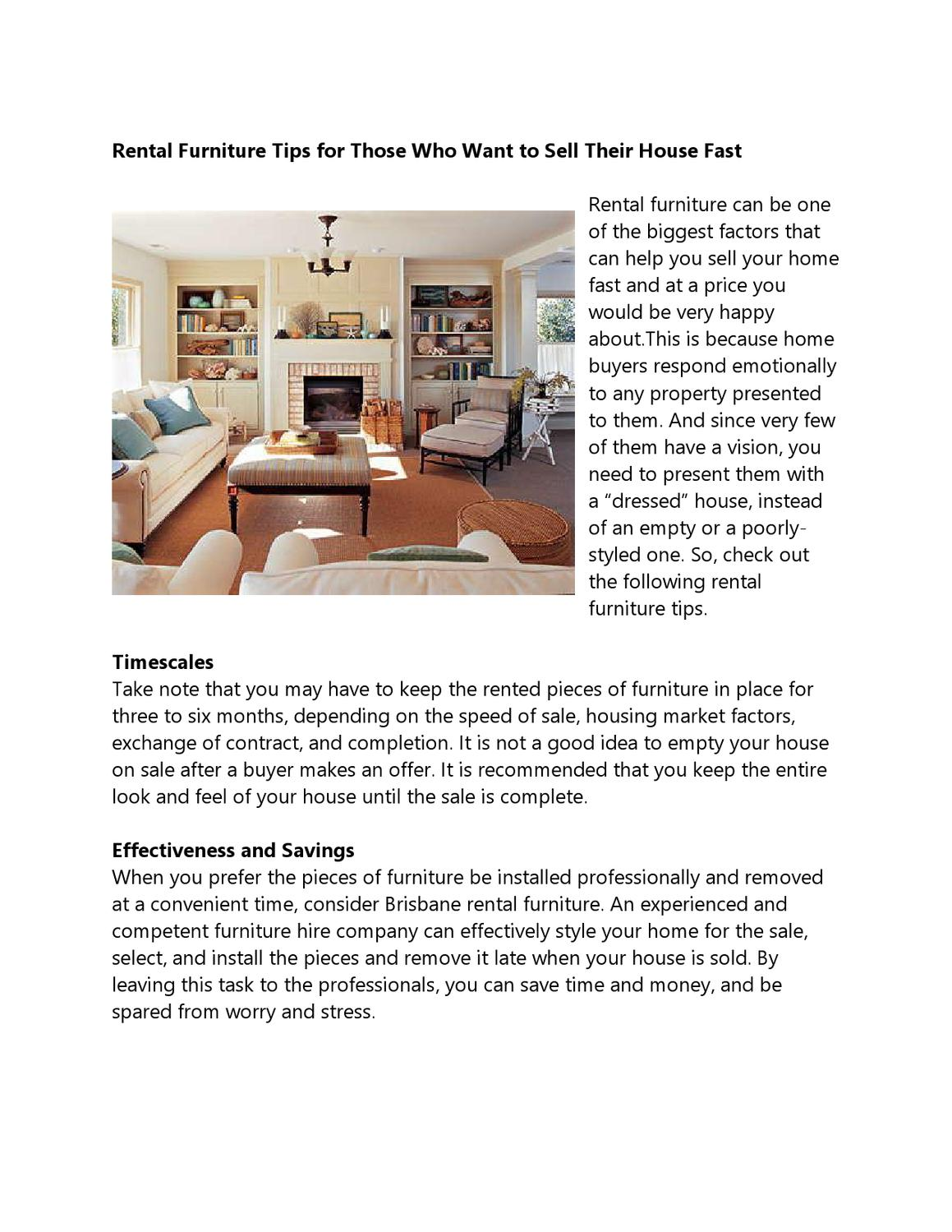 Rental Furniture Tips For Those Who Want To Sell Their House Fast By  Johnson Black   Issuu