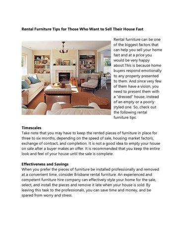 Rental Furniture Tips For Those Who Want To Sell Their House Fast Rental  Furniture Can Be One Of The Biggest Factors That Can Help You Sell Your  Home Fast ...