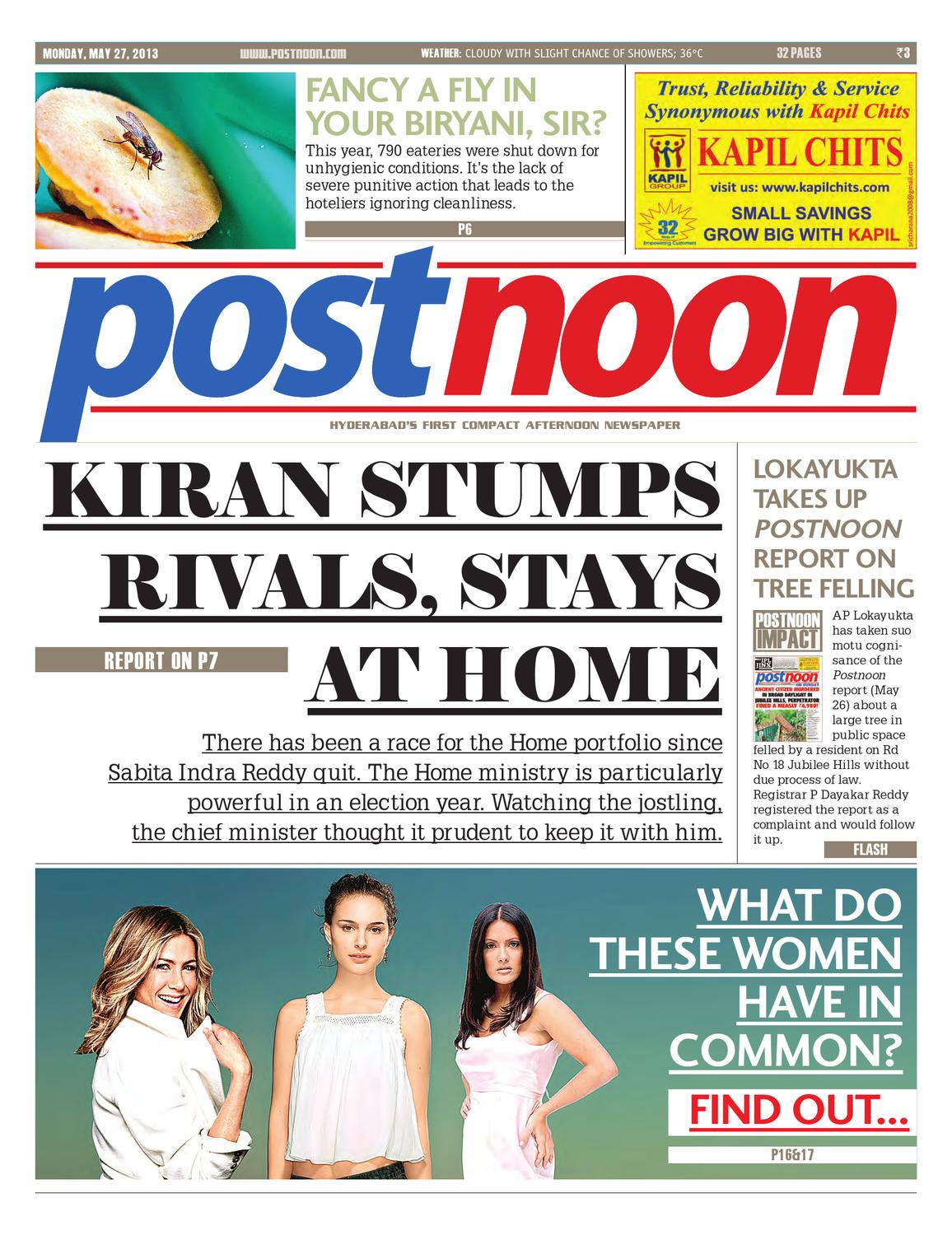 Postnoon E-Paper for May 27th 2013 by Scribble Media