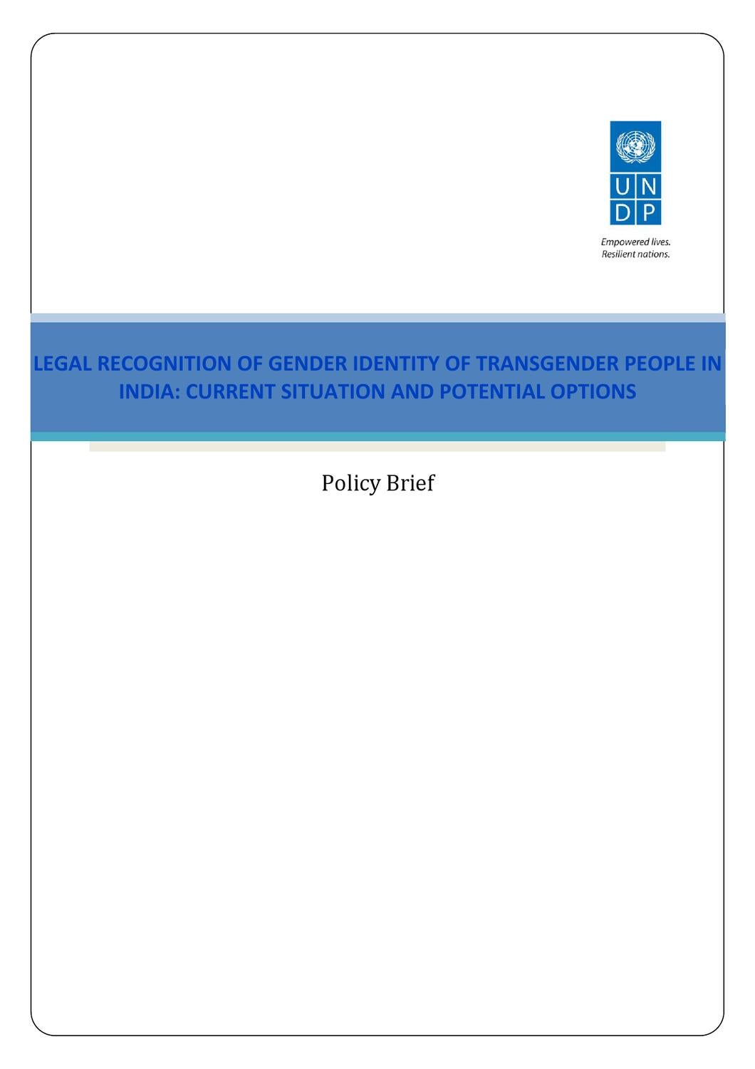 Legal Recognition of Gender Identity of Transgender People in India by United Nations Development Programme - issuu