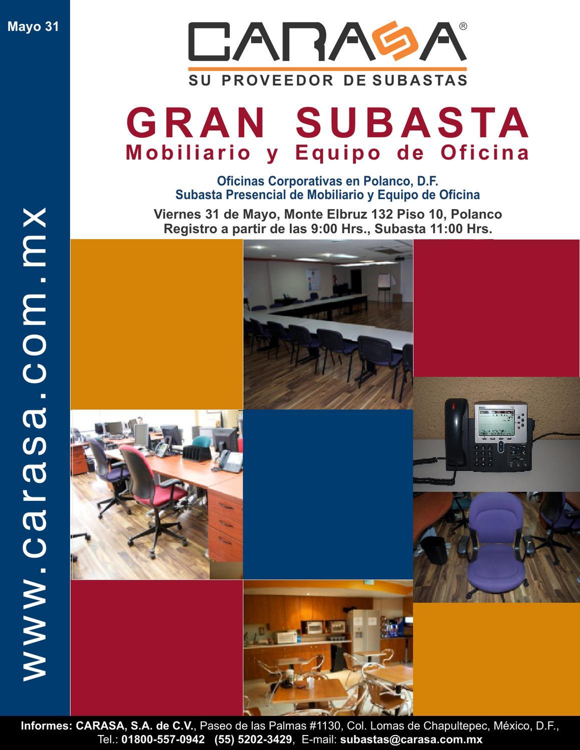 Subasta de mobiliario y equipo de oficina corporativo en for Mobiliario y equipo de oficina