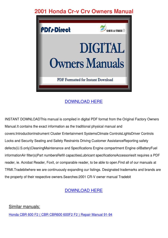 2001 Honda Cr V Crv Owners Manual by Ashley Poffenberger - issuu