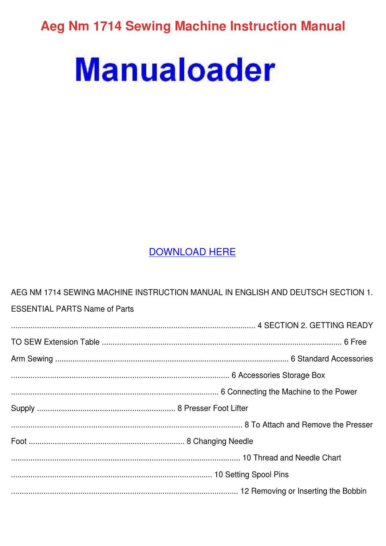 Aeg Nm 1714 Sewing Machine Instruction Manual by Ashley ...
