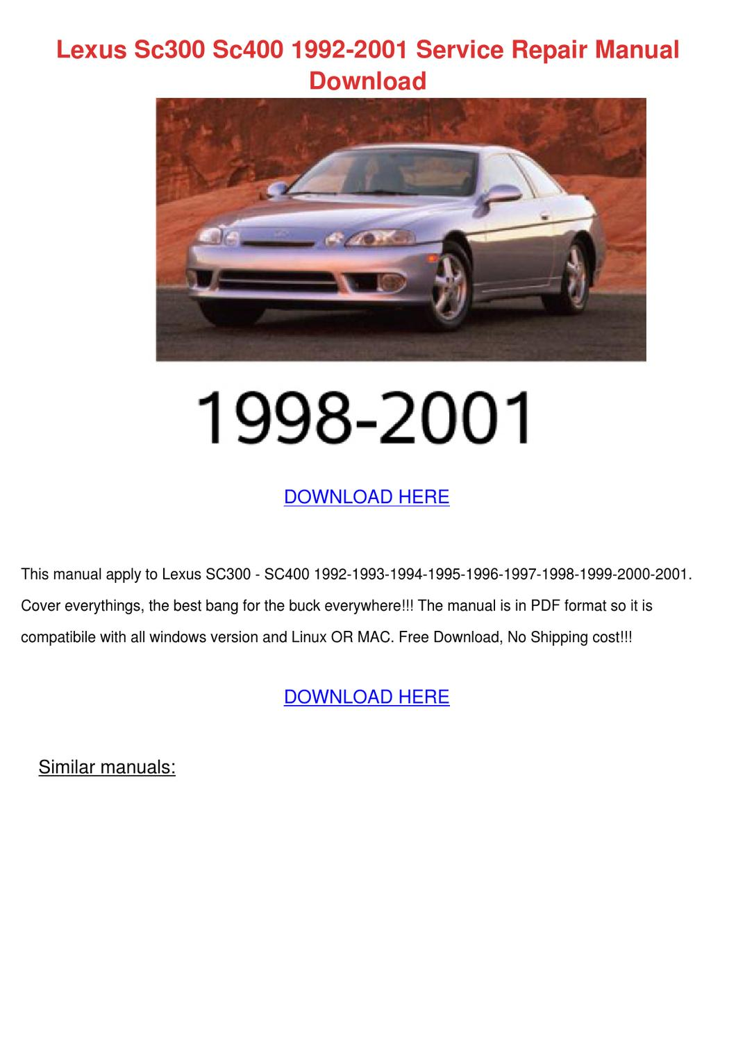 1995 Lexus Sc400 Owners Manual Pdf A Good Owner Example 1992 Problems Sc300 2001 Service Repair Ma By Herlinda Hogy Issuu Rh Com
