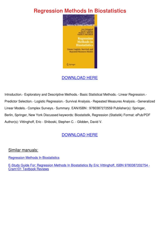 Regression Methods In Biostatistics by Agatha Grassmyer - issuu