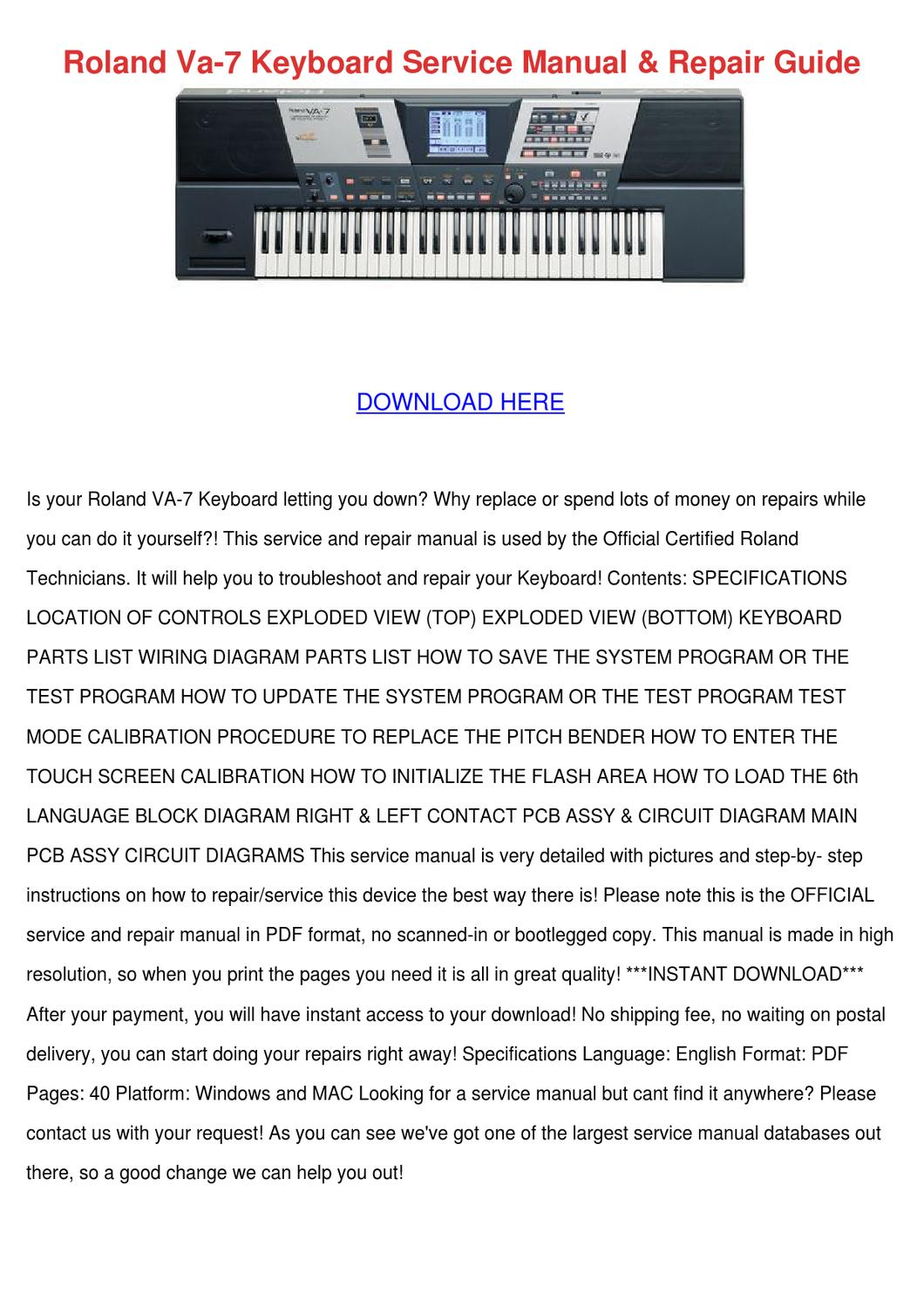 roland va 7 keyboard service manual repair gu by agatha grassmyer issuu. Black Bedroom Furniture Sets. Home Design Ideas
