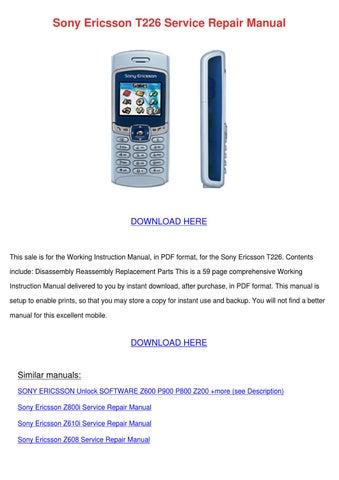 sony ericsson t226 service repair manual by agatha grassmyer issuu rh issuu com Sony Ericsson P-800 Sony Ericsson P-800