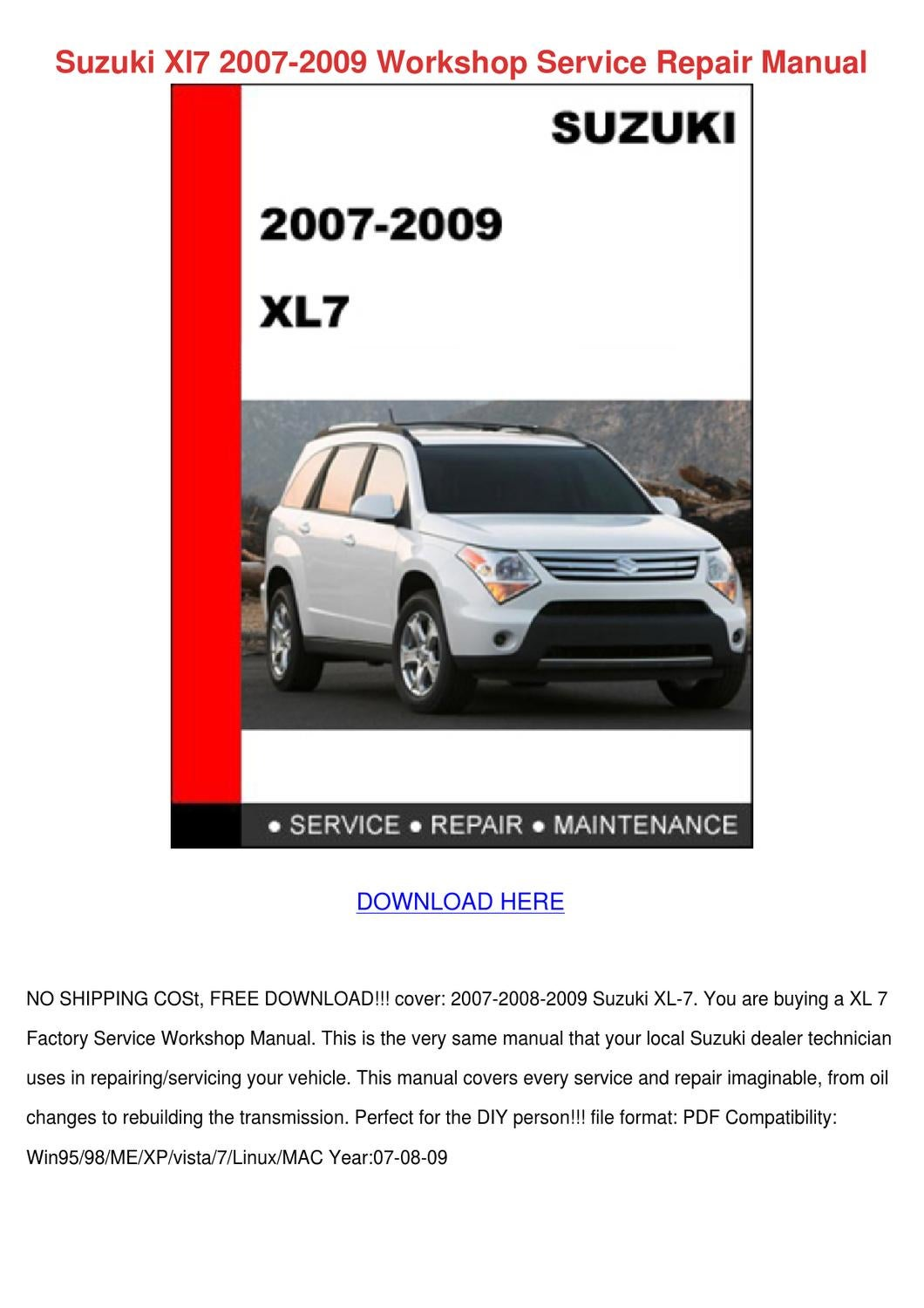 Suzuki XL7 - Owner s Manual - PDF ( Pages)