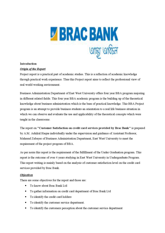 customer satisfaction in bank project report