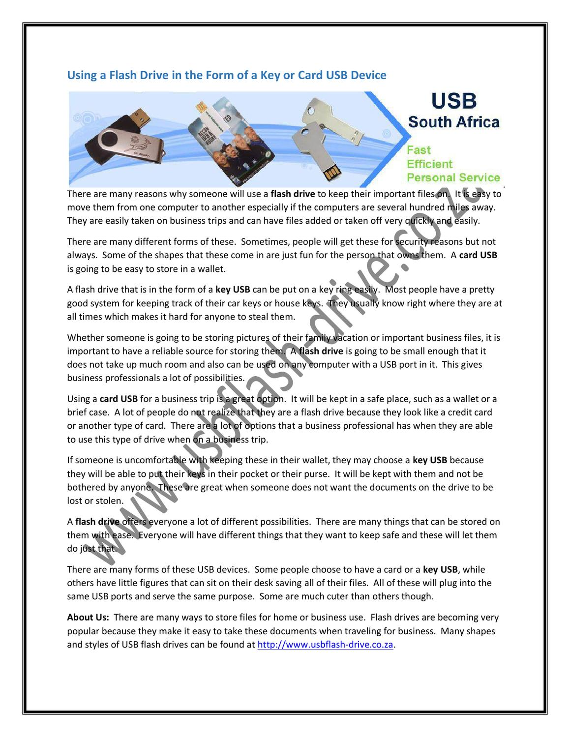 Using a Flash Drive in the Form of a Key or Card USB Device