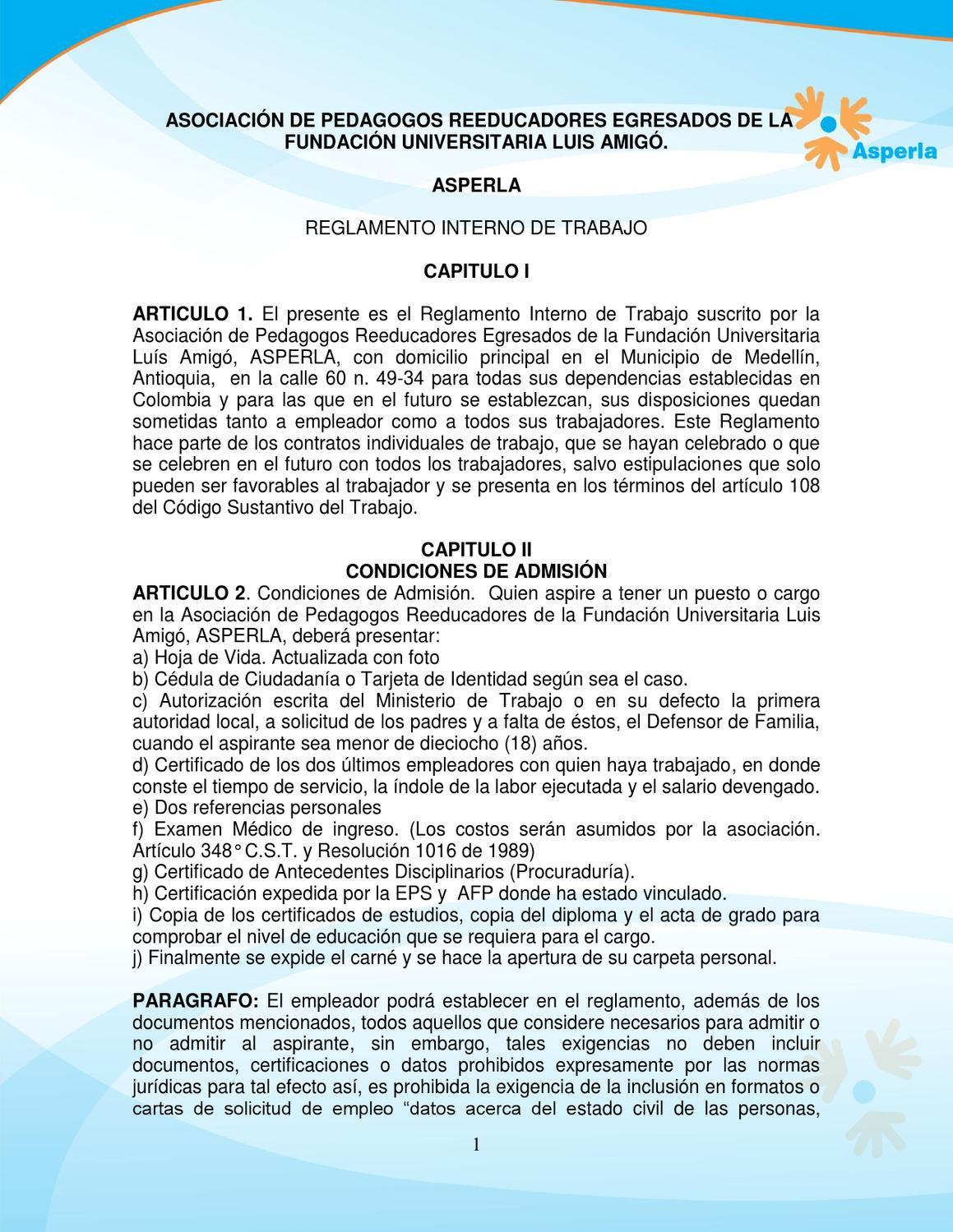 Reglamento interno de trabajo - Asperla by Asperla Ong - issuu