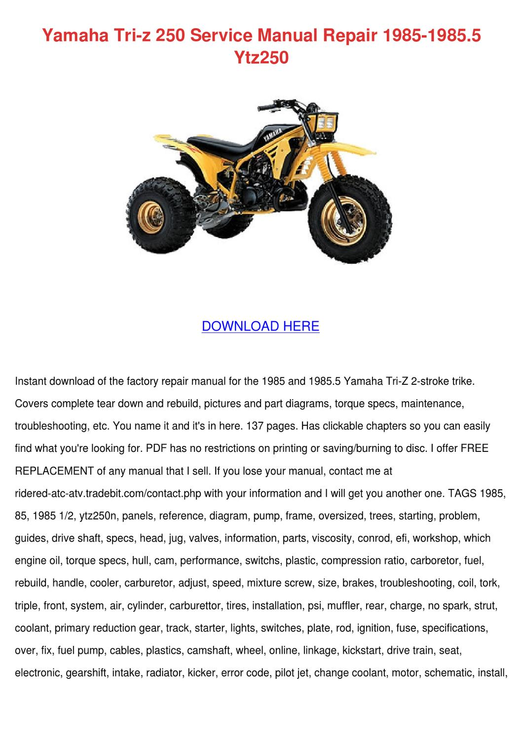 Yamaha Tri Z 250 Service Manual Repair 1985 1 by Jacelyn Backers ...