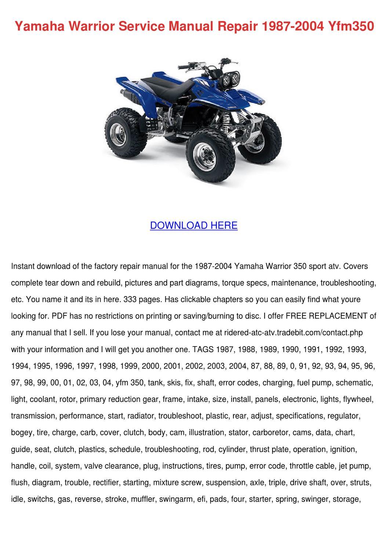 Yamaha Warrior Service Manual Repair 1987 200 By Jacelyn Backers Issuu