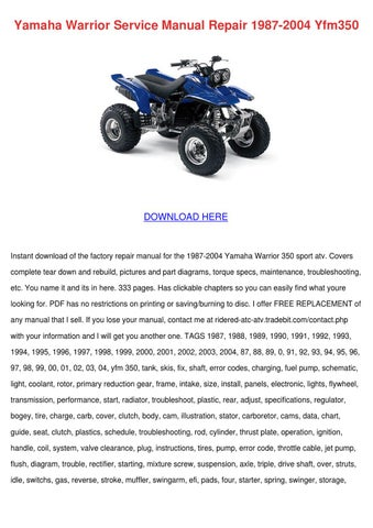 yamaha warrior service manual repair 1987 200 by jacelyn backers issuu rh issuu com yamaha 350 warrior service manual yamaha warrior 350 repair manual free download