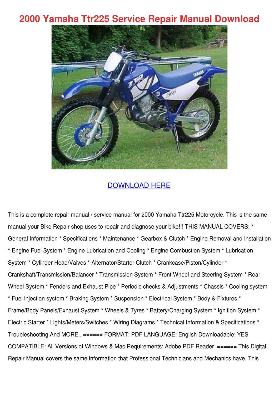 2000 Yamaha Ttr225 Service Repair Manual Down By Elinore Modafferi Issuu