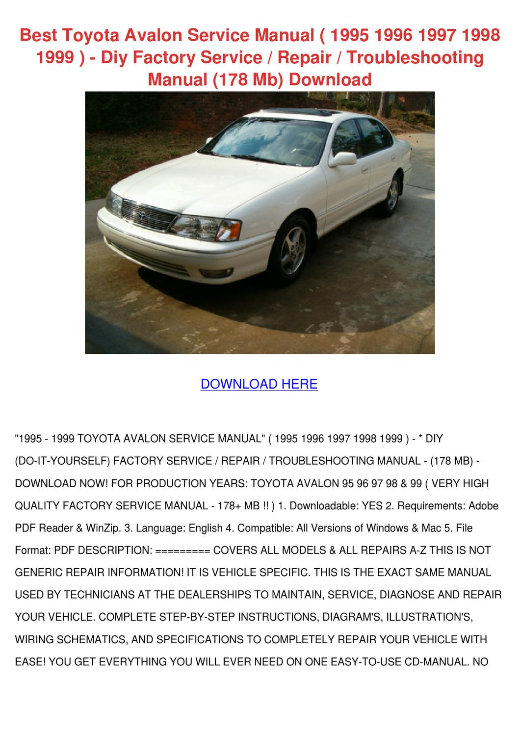1998 toyota avalon repair manual