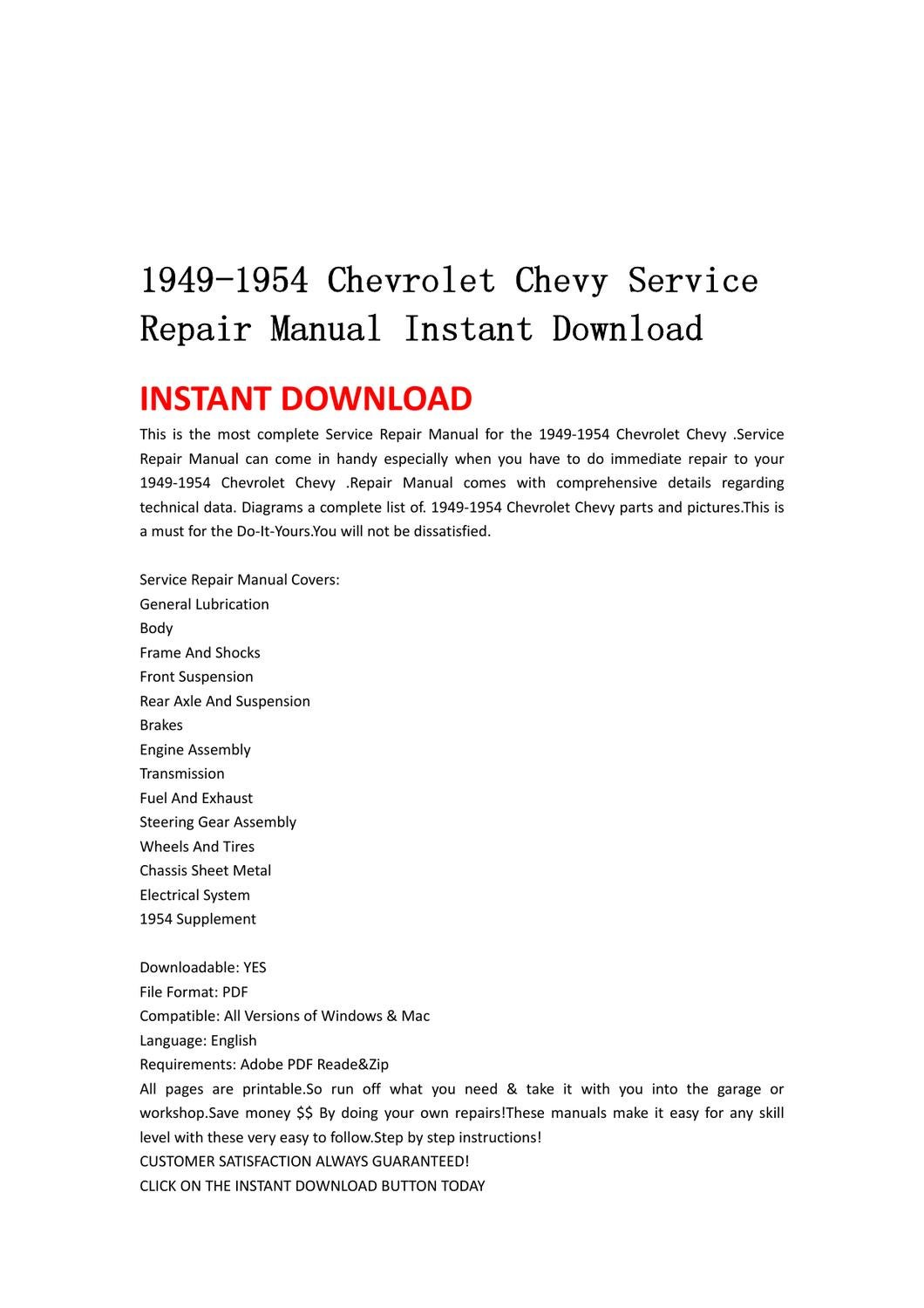 1949-1954 Chevrolet Chevy Service Repair Manual Instant Download by lin  leiww - issuu