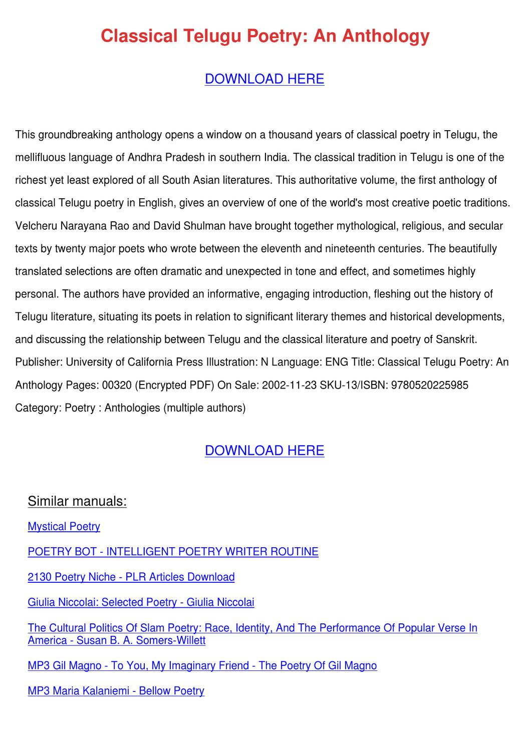 Classical Telugu Poetry An Anthology by Elinore Modafferi