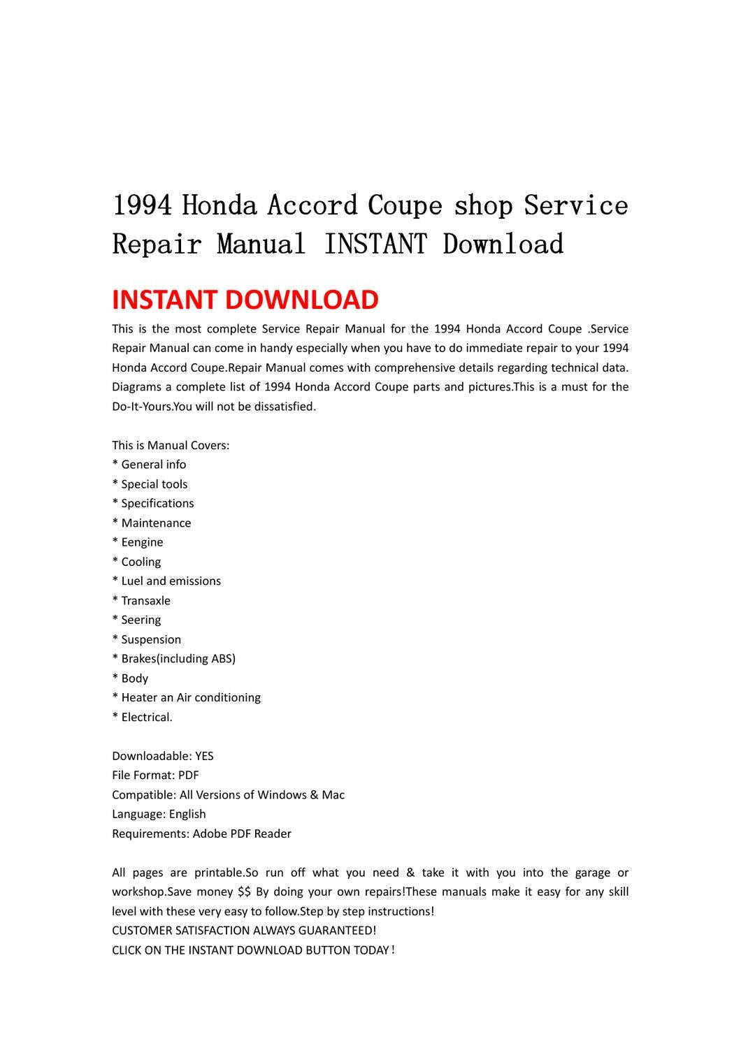 1994 honda accord coupe shop service repair manual instant download by lin leiww issuu. Black Bedroom Furniture Sets. Home Design Ideas
