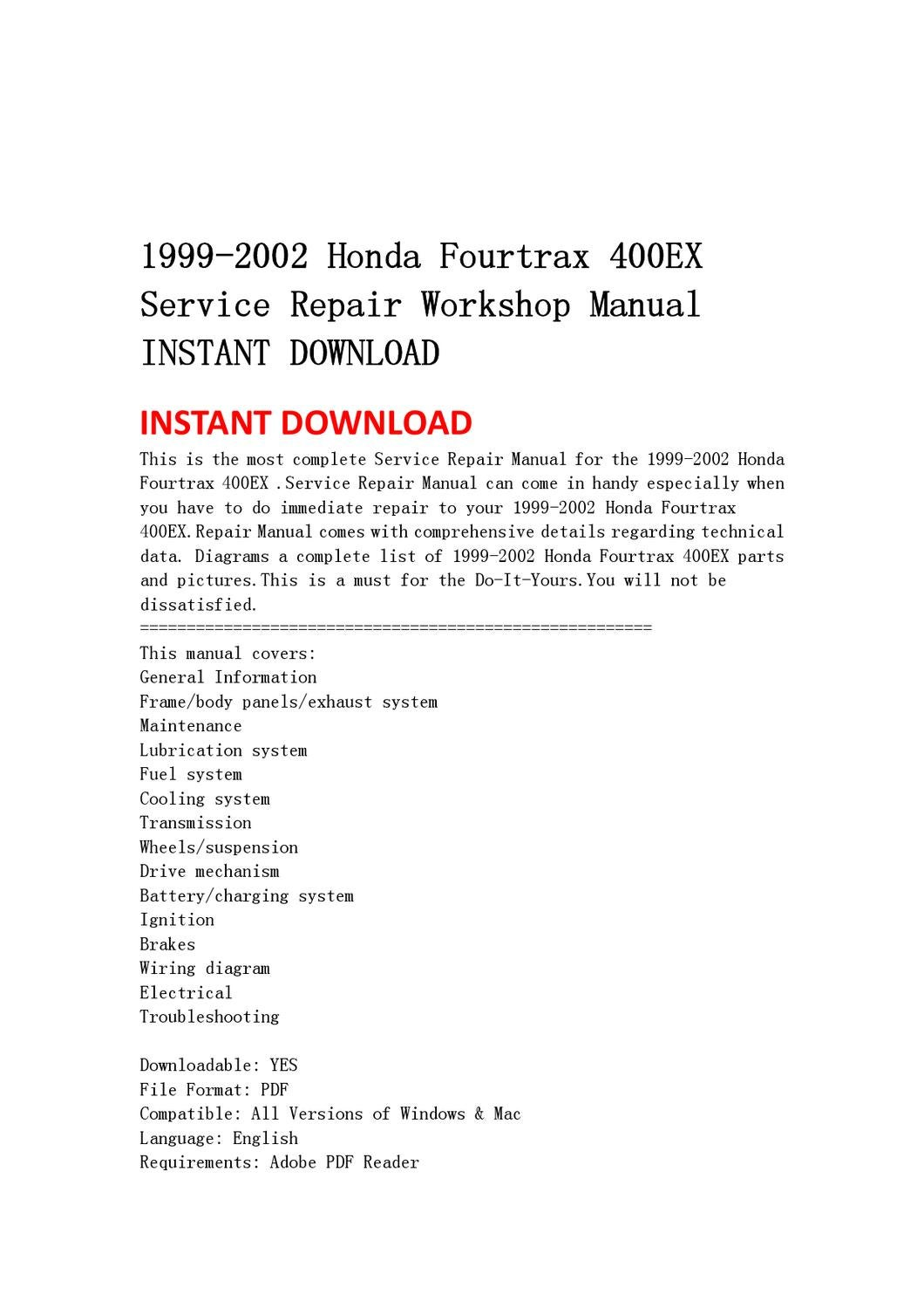 1999 2002 Honda Fourtrax 400ex Service Repair Workshop Manual Ignition Wiring Diagram Instant Download By Lin Leiww Issuu