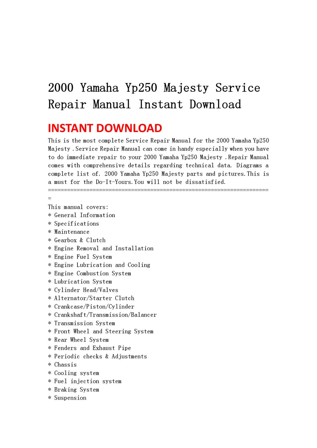 2000 yamaha yp250 majesty service repair manual instant download by home  wiring diagrams 2000 yamaha yp250