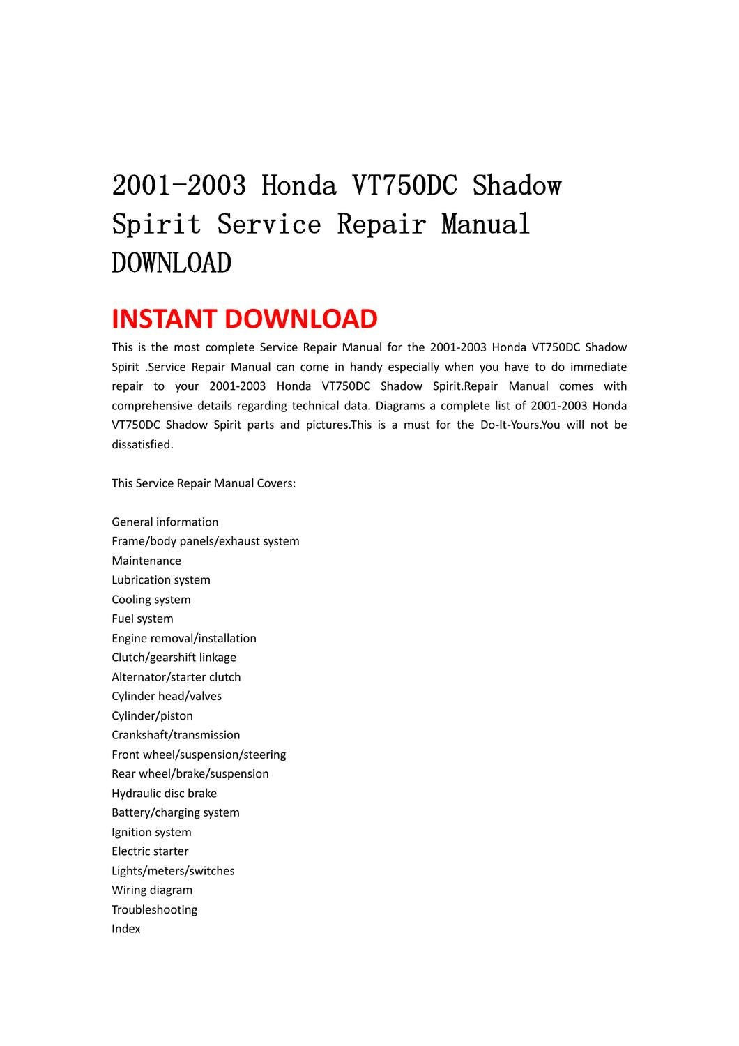 2001-2003 Honda VT750DC Shadow Spirit Service Repair Manual DOWNLOAD by lin  leiww - issuu