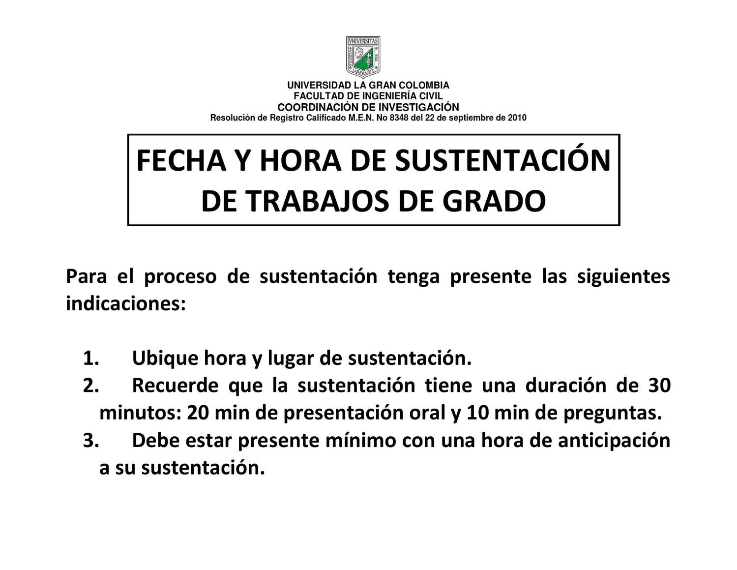 Horarios de sustentaci n trabajos de grado 2013 i by for Horario oficina ing mostoles