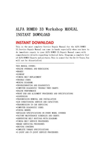 ALFA ROMEO 33 Workshop MANUAL INSTANT DOWNLOAD by lin leiww
