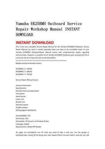 Yamaha ek25bmh outboard service repair workshop manual for Yamaha outboard serial number checker