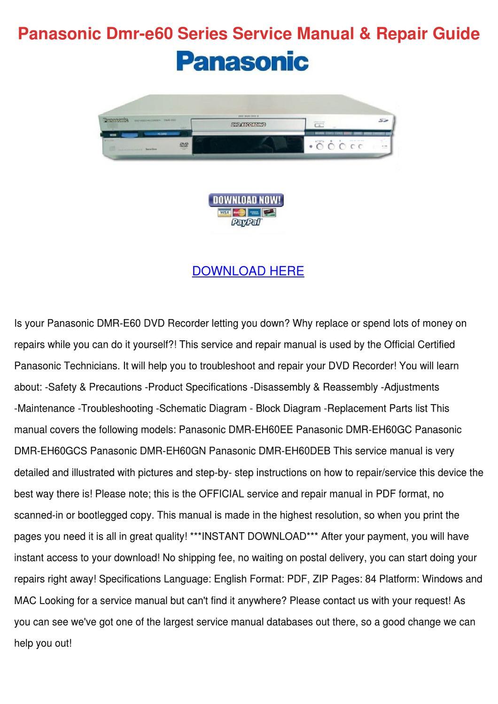 Panasonic Dmr E60 Series Service Manual Repai by Leann