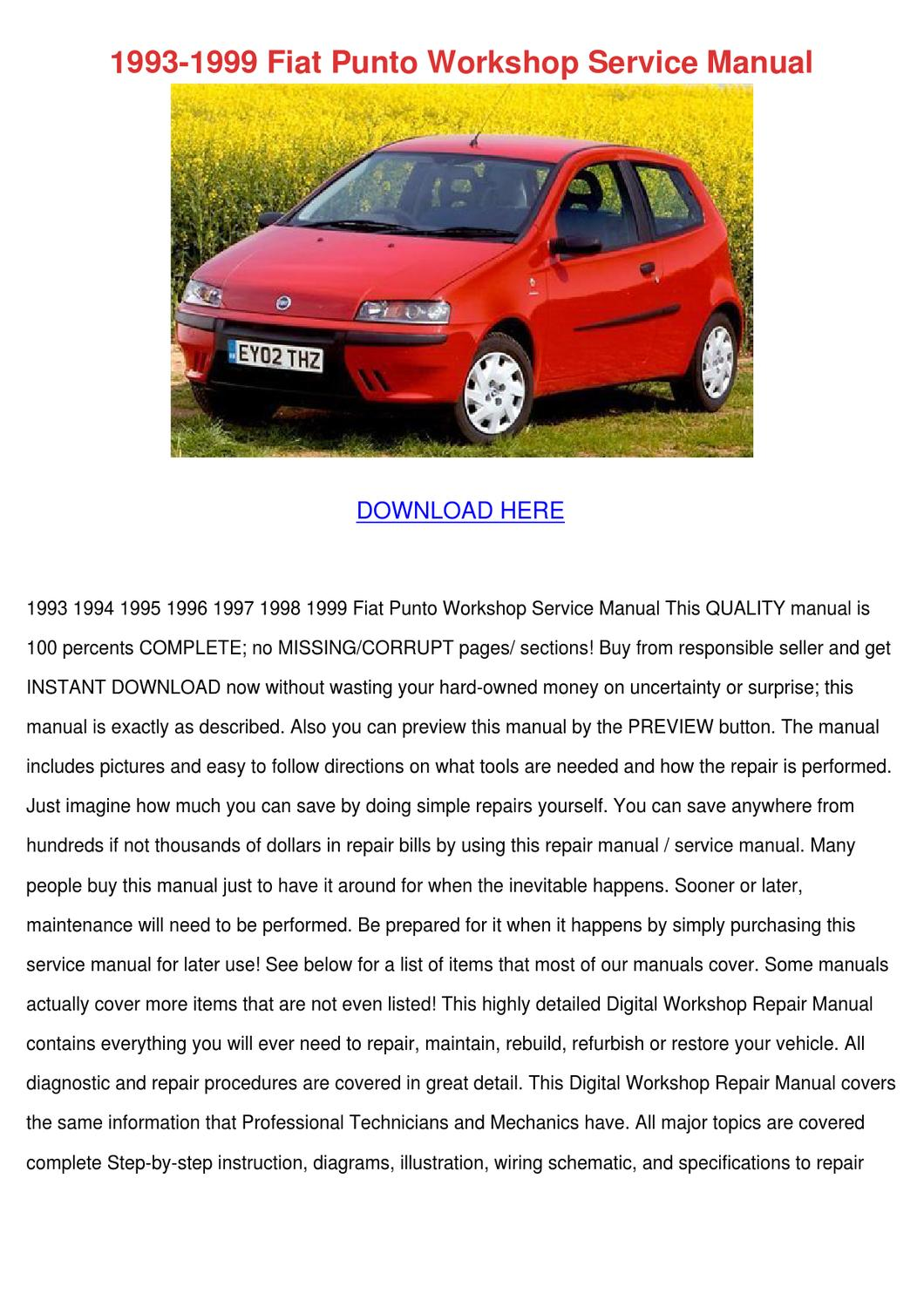 1993 1999 Fiat Punto Workshop Service Manual By Josefina Hotalen Issuu Coupe 20v Wiring Diagram