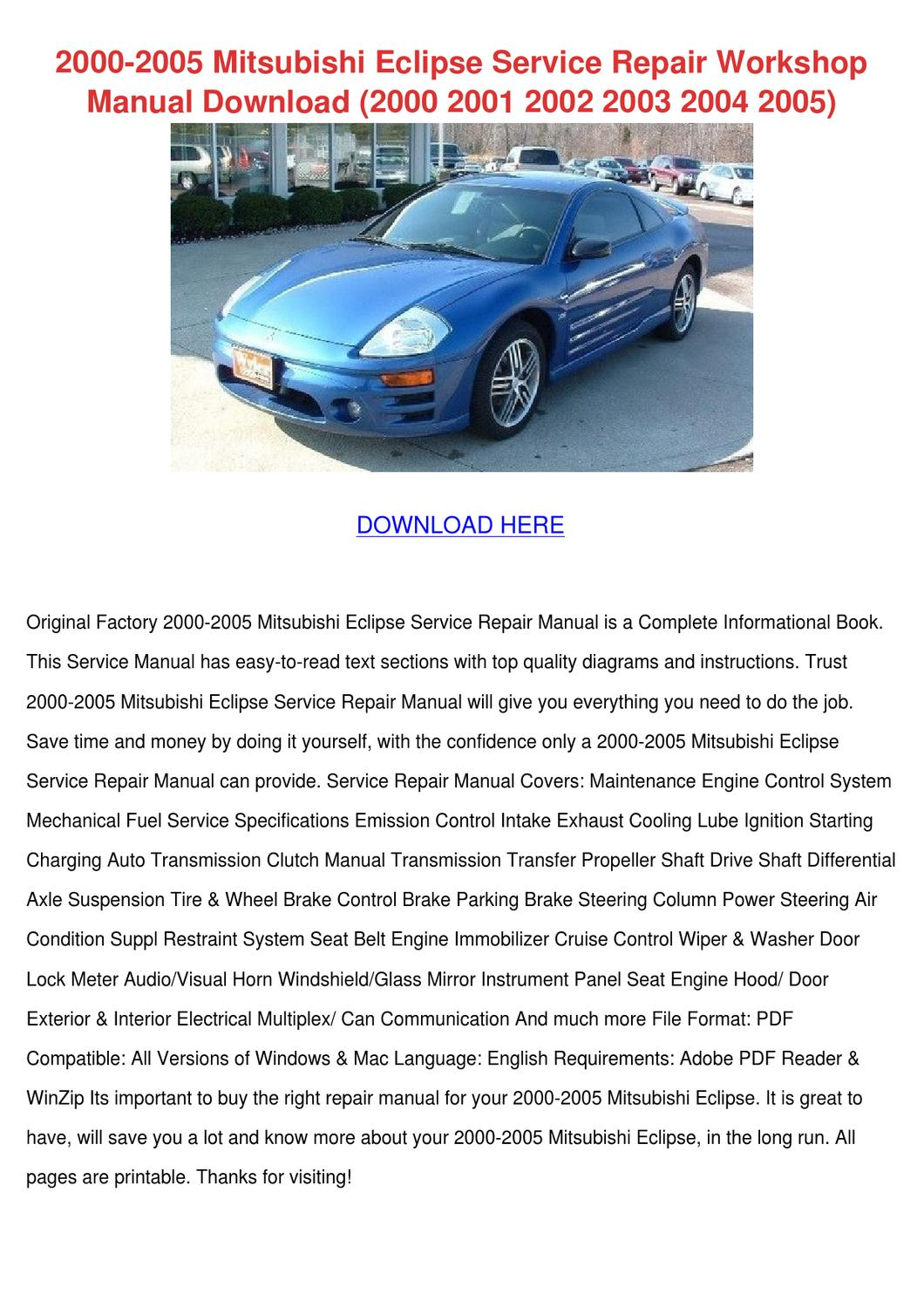 2000 2005 Mitsubishi Eclipse Service Repair W by Josefina Hotalen - issuu
