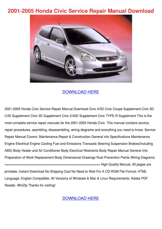2001 2005 Honda Civic Service Repair Manual D By Josefina Hotalen Issuu