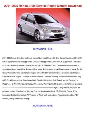 2001 2005 Honda Civic Service Repair Manual D by Josefina Hotalen ...